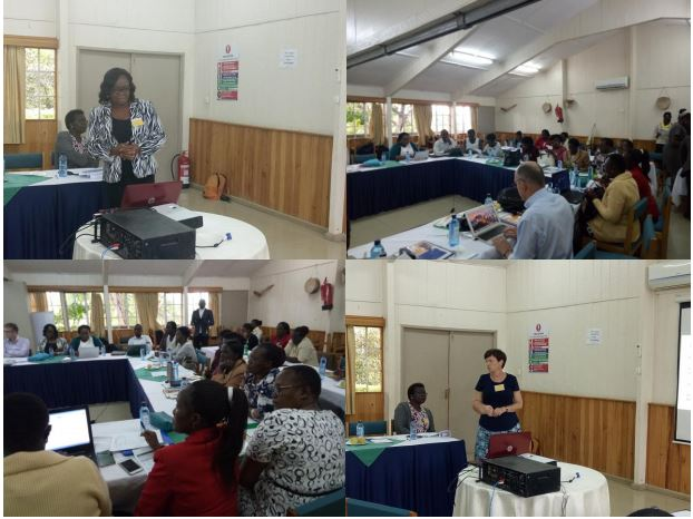 A section of participants, with Dr Olukemi Tongo (top left) and Dr Alison Talbert (bottom right) giving presentations during the symposium