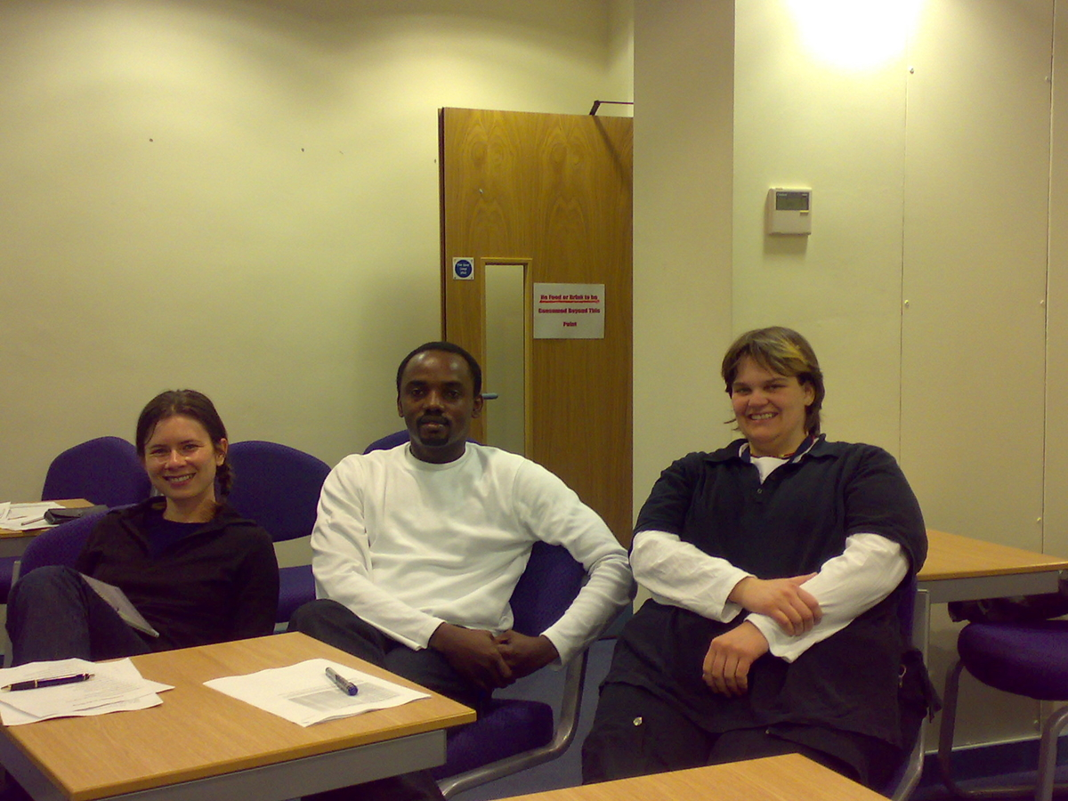 At LSTM Lecture Hall with coursemates Corrina Blume & Sandra Jeschke. 2007
