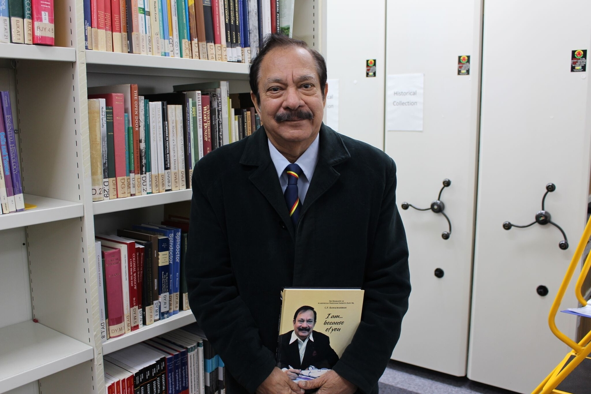 Professor Dr C.P. Ramachandran visits the LSTM Library during a nostalgic return to the school