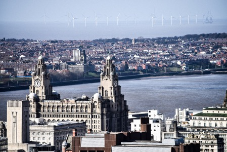 Liverpool's Liver Building as seen from the top of St James Mt Cathedral