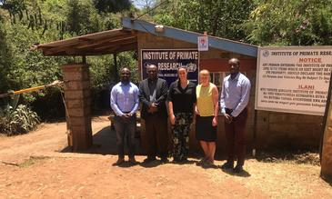 George Omondi and Daudi Sallah (IPR), Lauren Thistlethwaite and Paula McCabe (LSTM) and Collins Waweru (IPR) at IPR offices.