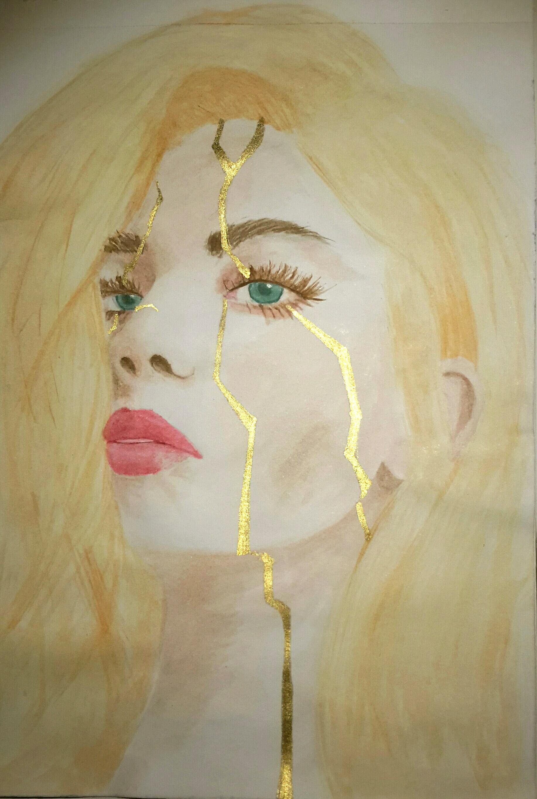 A defiant yet solemn female portrait with jagged golden lines to emulate the golden lines traditionally seen in Kintsugi pottery