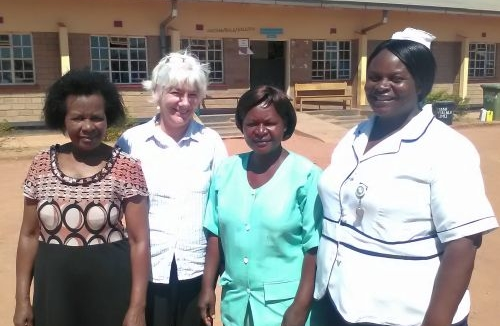 Terry Kana with midwives in Malawi